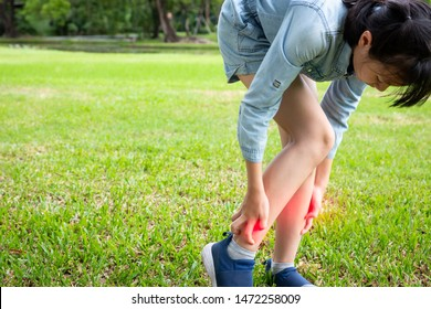 Asian little child girl itching her leg from insect bites,mosquito bite,itch of skin diseases,girl scratching leg with hand,allergy,rash in the grass in outdoor park,ringworm,tinea problem,health care