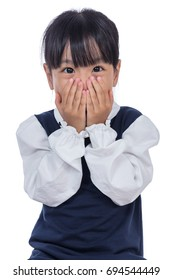 Asian Little Chinese Girl covering her face in isolated White Background