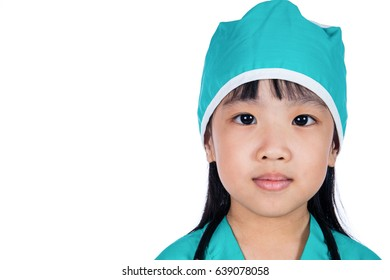 Asian Little Chinese Girl dressed as a doctor in isolated white background