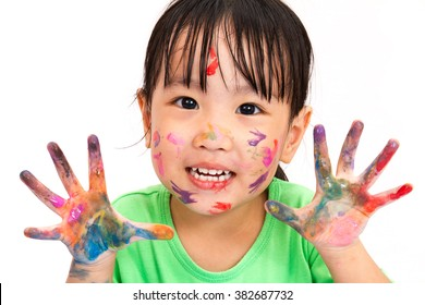 Asian Little Chinese Girl Playing and Painting isolated on White Background