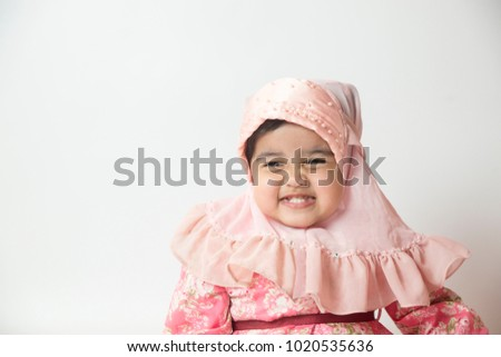 asian little cute muslim girl showing stock photo edit now