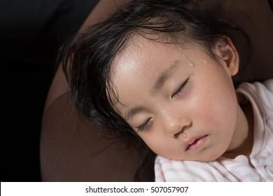 asian little girl gets high fever