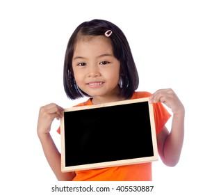 Asian little asian girl hand holding black board
