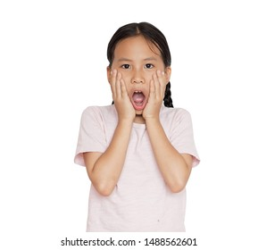 Asian little girl make a face surprise on isolated