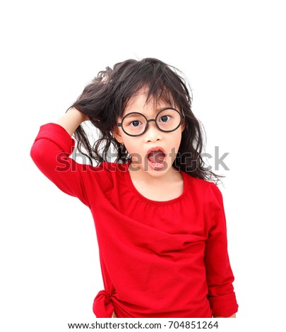 afc93d997d61 Asian little girl with question face and asking isolated on white background