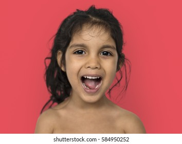 Asian Little Girl Smiling Happy Cheerful