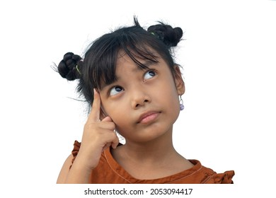 Asian little girl using the index finger on the head and looking upwards to use the thought isolated on white background.