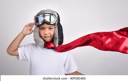 Asian lovely cute boy dream to be pilot in White background