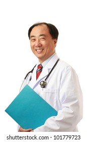 Asian male doctor, isolated on white