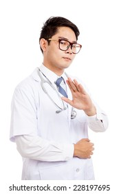 Asian male doctor said talk to my hand  isolated on white background