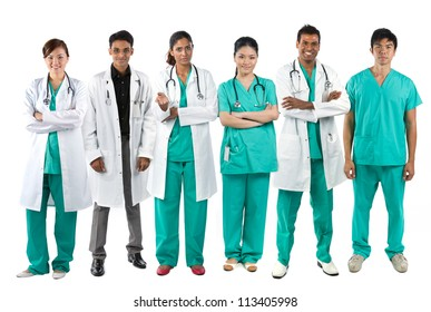 Asian Male and Female medical team wearing uniform's. Isolated on white. Full length Portrait.
