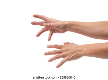 asian male hands reaching out on isolated white background