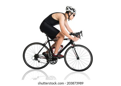 asian male triathlete on the bicycle race