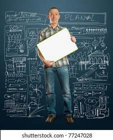 asian male with write board in his hands isolated against different backgrounds
