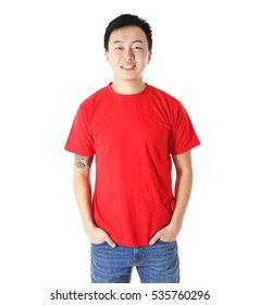 Asian man in blank red t-shirt on white background