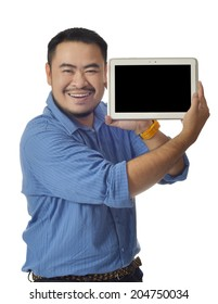 Asian man in blue shirt show tablet near face with smile isolate background