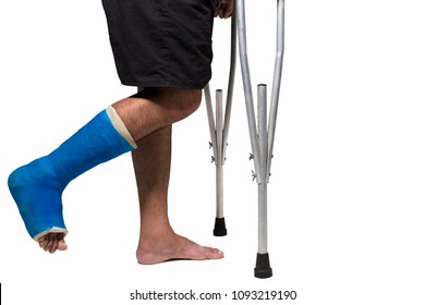 asian man broken leg hold and  walk with aluminum crutch isolated on white background