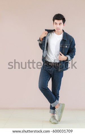 Asian Man Casual Outfits Standing Jeans Stock Photo Edit Now