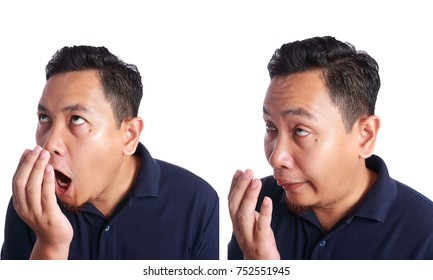 Asian Man Check His Own Mouth Smell