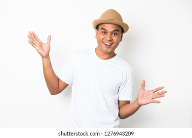 Asian man is feeling happy celebrate with two hand stretch on white background.