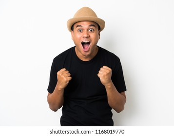 Asian man is feeling happy on white background.