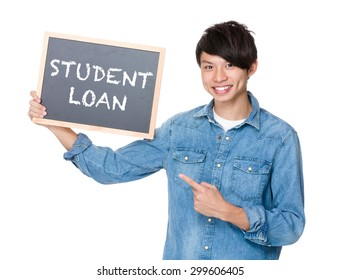 Asian man finger point to chalkboard and showing phrase of student loan