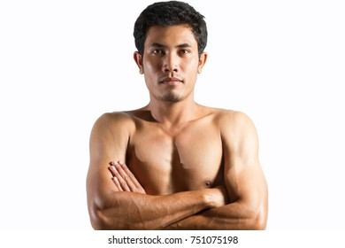 Asian man fitness muscle cross one's arm on white background