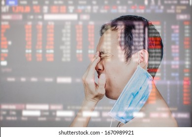 Asian man got frustrated and angry after Stock market surge and dramatically fall down as a result of Coronavirus or covid19 fears and world oil price decrease. All world economic get worse