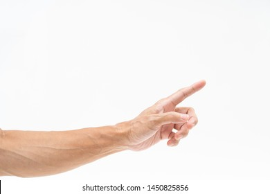 Asian man hand arm on white background