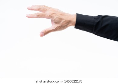 Asian man hand with black shirt on white background