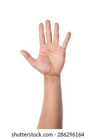 Asian man hand raise up on white background.