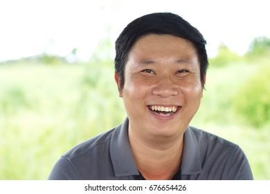 Asian man is happy