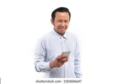 asian man happy phone. asian man happy with phone