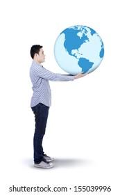 Asian man holding globe  isolated on white background