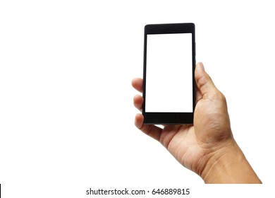 asian man is holding a smartphone with his hand isolated on white background.
