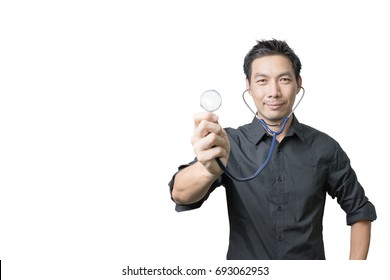 Asian man holding stethoscope isolated on white background with clipping path