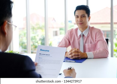 Asian man in job interview at office background, job search, business concept
