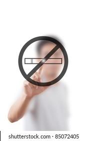Asian man pushing stop smoke symbol.