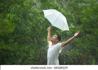 Asian man in the rain