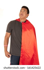 asian man in red cape looking up