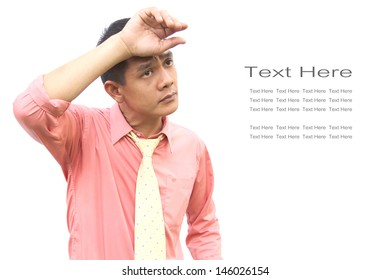 Asian man is serious with text on white background