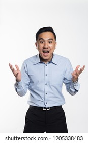 Asian man shock and surprise face expression