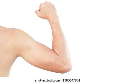 Asian man show back arm with muscle isolated on white background, health care and medical concept