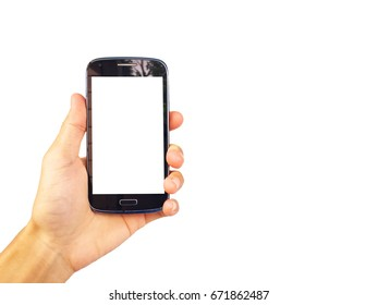 asian man is Show black smartphone has white screen in hand