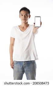 asian man showing mobile phone,left hand