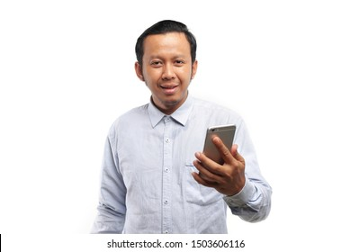 asian man smartphone. asian happy with phone.