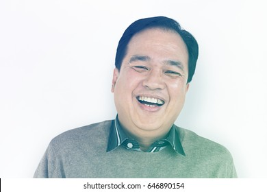 Asian Man Smile Happiness Face Expression Studio Portriat