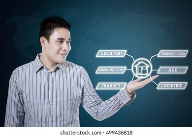 Asian man smiling and showing house icon on the virtual screen