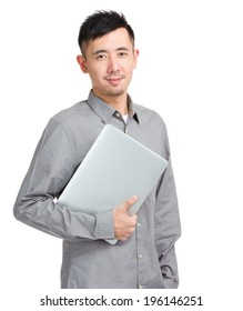 Asian man student with laptop