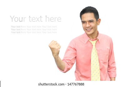 Asian man successful in his business. with text in isolate